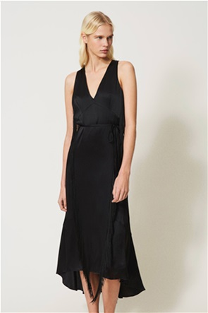 Twinset γυναικείο φόρεμα αμάνικο με άνοιγμα στη πλάτη και κρόσσια