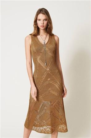Twinset γυναικείο midi φόρεμα πλεκτό με διάτρητο σχέδιο και μεταλλικές ίνες