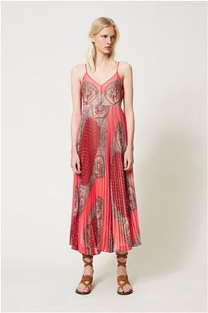Twinset γυναικείο maxi φόρεμα πλισέ με scarf motif print