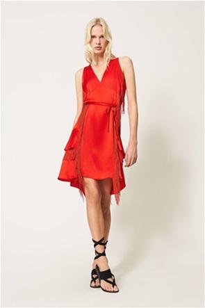 Twinset γυναικείο mini φόρεμα μεταξωτό με κρόσσια