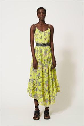 Twinset γυναικείο ασύμμετρο φόρεμα με floral print