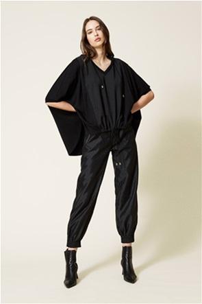 Twinset γυναικεία μπλούζα φούτερ με κουκούλα και πλεκτές λεπτομέρειες
