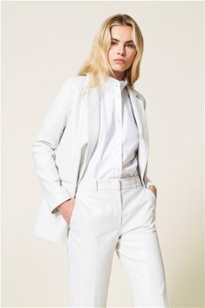 Twinset γυναικείo blazer μονόχρωμο faux leather