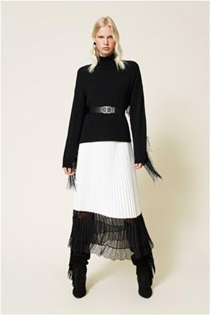 Twinset γυναικεία φούστα πλισέ με contrast δαντέλα