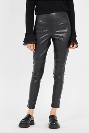 Twinset γυναικείo παντελόνι faux leather ψηλόμεσο Slim Fit