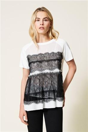 Twinset γυναικείo T-shirt με contrast δαντέλα