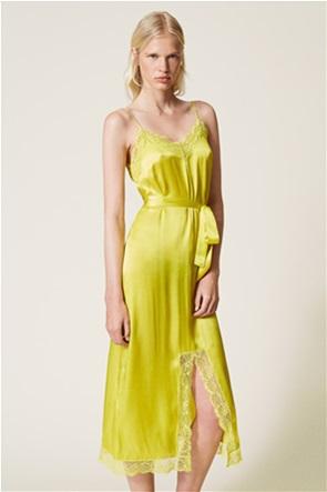Twinset γυναικείo midi φόρεμα σατινέ με δαντέλα και ζώνη στη μέση
