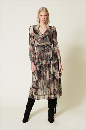 Twinset γυναικείo midi φόρεμα με all-over floral print