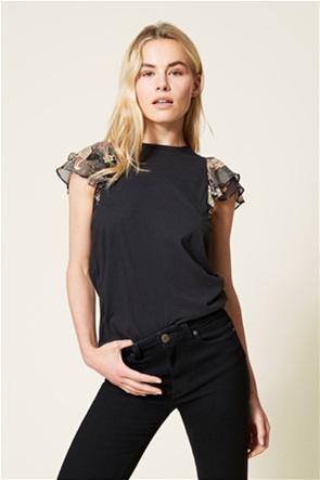Twinset γυναικείo T-shirt με βολάν στο μανίκι και floral print