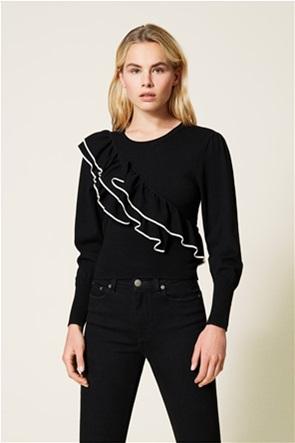 Twinset γυναικείο πουλόβερ με βολάν και contrast λεπτομέρειες