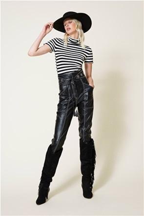 Twinset γυναικεία πλεκτή μπλούζα ζιβάγκο με ριγέ σχέδιο