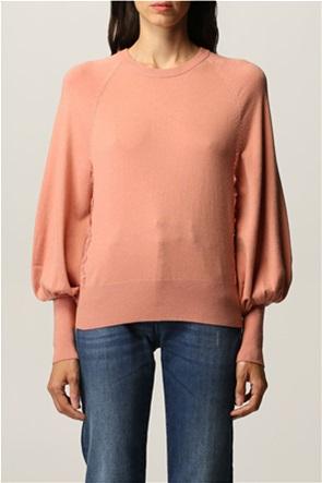 Twinset γυναικείo πουλόβερ με δαντέλα και balloon μανίκια