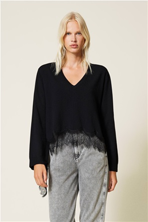 Twinset γυναικείo πουλόβερ ασύμμετρο με δαντέλα