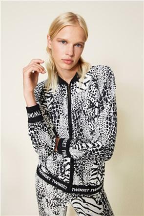 Twinset γυναικείo bomber jacket με all-over animal print