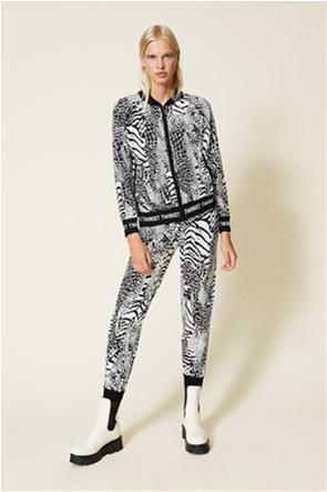 Twinset γυναικείo παντελόνι φόρμας με all-over animal print