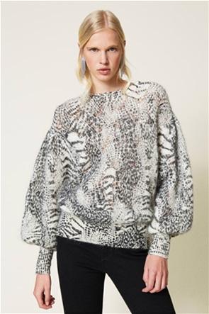 Twinset γυναικείo πουλόβερ με αραιή πλέξη και animal print