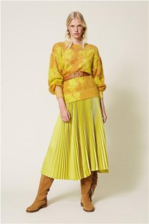 Twinset γυναικείo πουλόβερ με αραιή πλέξη και floral print