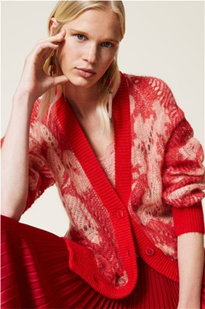 Twinset γυναικεία πλεκτή ζακέτα με αραιή πλέξη και floral print