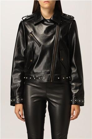 Twinset γυναικείο jacket faux leather με τρούκς