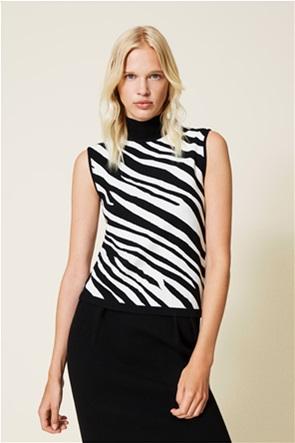 Twinset γυναικεία μπλούζα πλεκτή αμάνικη με zebra print