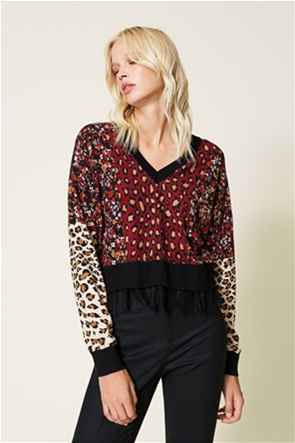 Twinset γυναικεία μπλούζα πλεκτή με all-over print