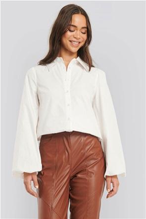 NA-KD γυναικείο πουκάμισο μονόχρωμο με balloon μανίκια