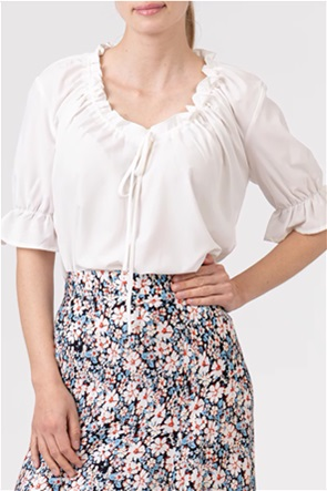 NA-KD γυναικεία μπλούζα μονόχρωμη με διακοσμητικό βολάν και μανίκι 3/4