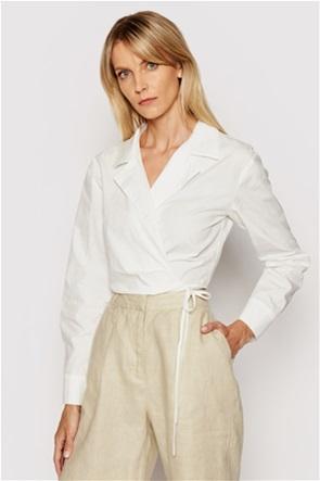 NA-KD γυναικείο πουκάμισο cropped με δέσιμο στο πλάι