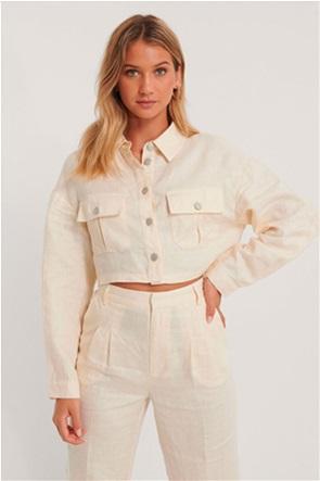 NA-KD γυναικείο λινό jacket cropped με flap τσέπες στο στήθος
