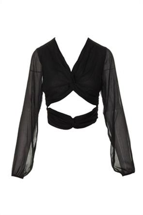 NA-KD γυναικεία μπλούζα μονόχρωμη με cut-out λεπτομέρεια