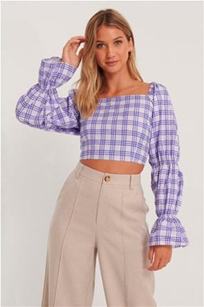 NA-KD γυναικεία μπλούζα cropped με καρό σχέδιο και φαρδύ μανίκι
