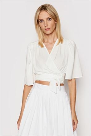 NA-KD γυναικεία μπλούζα cropped με δέσιμο στο τελείωμα
