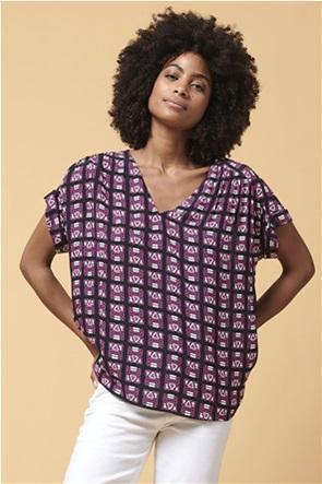 La Fee Maraboutee γυναικεία μπλούζα με all-over print και V λαιμόκοψη