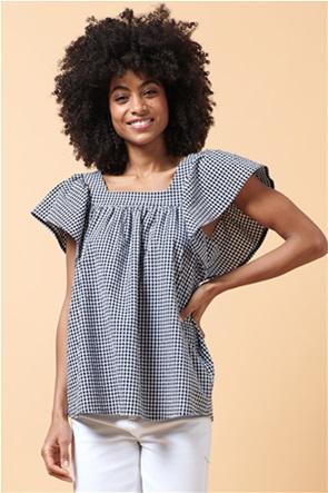 La Fee Maraboutee γυναικεία μπλούζα με καρό σχέδιο και square λαιμόκοψη