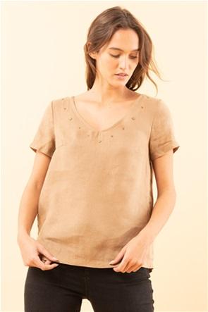 La Fee Maraboutee γυναικεία μπλούζα λινή με V λαιμόκοψη και διακοσμητικά τρουκς