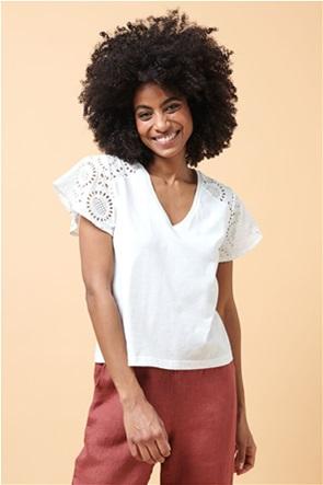La Fee Maraboutee γυναικεία μπλούζα μονόχρωμη με διάτρητα κεντήματα