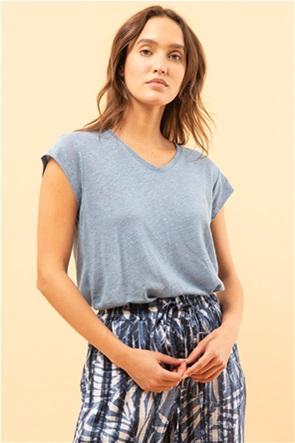 La Fee Maraboutee γυναικεία μπλούζα λινή με V λαιμόκοψη