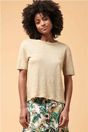 La Fee Maraboutee γυναικεία μπλούζα λινή με ρεβέρ στο μανίκι
