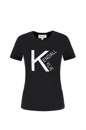 Kendall + Kylie White γυναικείο T-shirt με contrast λογότυπο