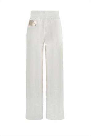 Kendall + Kylie White γυναικείο παντελόνι φόρμας με μεταλλιζέ logo patch