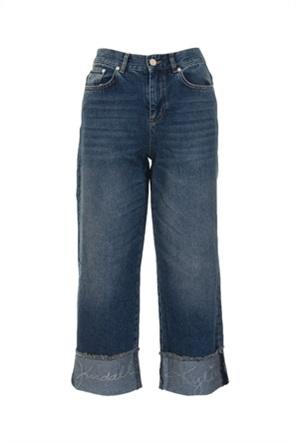 Kendall + Kylie White γυναικείο τζην παντελόνι cropped με ρεβέρ