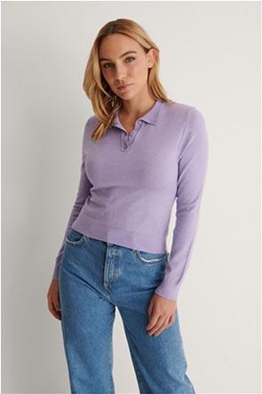 NA-KD γυναικεία πόλο μπλούζα μονόχρωμη