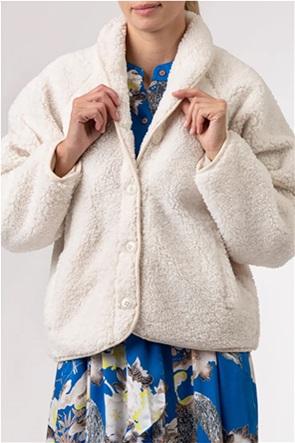 NA-KD γυναικείο παλτό μονόχρωμο με faux γούνα