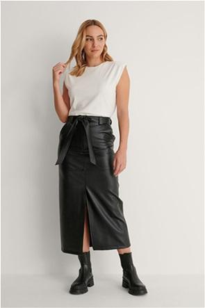 NA-KD γυναικεία midi φούστα faux leather