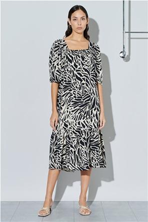 Ghospell γυναικείο midi φόρεμα με all-over graphic wave print