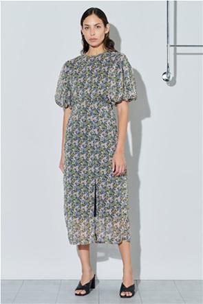 Ghospell γυναικείο midi φόρεμα με all-over floral print και puff μανίκια