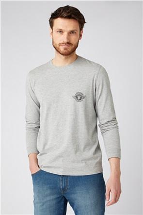 """Wrangler ανδρική μπλούζα μονόχρωμη με logo print """"Biker Regular Fit"""""""