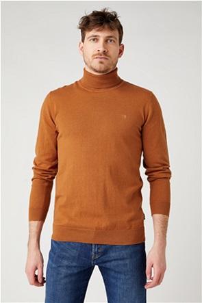 """Wrangler ανδρική πλεκτή μπλούζα ζιβάγκο μονόχρωμη με logo print """"Regular Fit"""""""