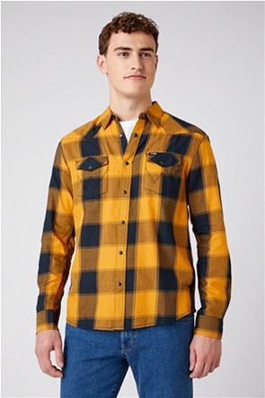 "Wrangler ανδρικό πουκάμισο με καρό σχέδιο και flap τσέπες ""Western"" Regular Fit"