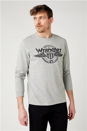 """Wrangler ανδρική μπλούζα μονόχρωμη με maxi logo print """"Americana Regular Fit"""""""
